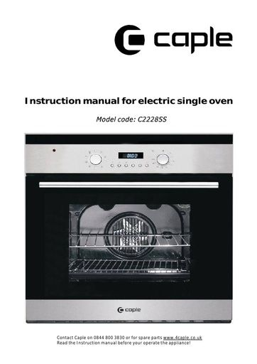 User Manual Electric Oven Browse Manual Guides