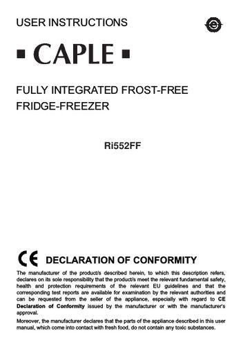 ri552ff instruction manual caple manuals rh northlondonappliancerepairs co uk Energy Guide Appliance Repair