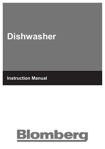 Blomberg Gin 9580 Xb Dishwasher Blomberg Manuals