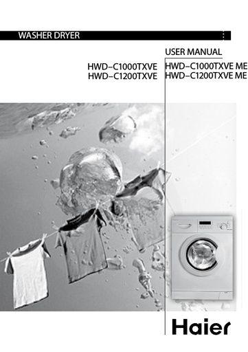Haier HWD C1000TXVE Washer Dryer - Haier Manuals