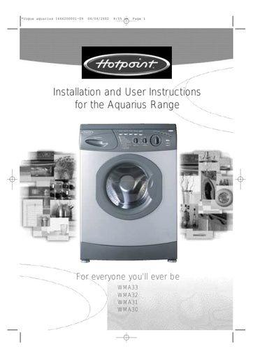 Hotpoint Wma30 Aquarius Washing Machine Hotpoint Manuals