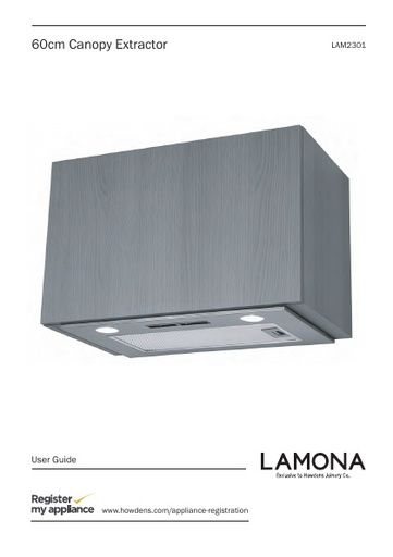 Lamona 60cm shallow canopy extractor - LAM2301 Manuals